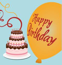 happy birthday cake streamer balloon vector image vector image