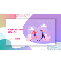 happy couple running website landing page city vector image