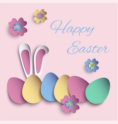 happy easter paper cut card vector image