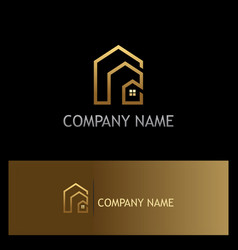 House line gold realty logo vector
