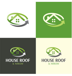 House roand arrow moving company logo and icon vector