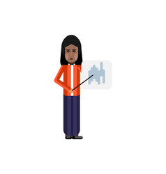 Indian woman with business diagram vector