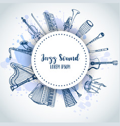 Jazz background music instruments banner design vector