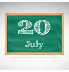 July 20 day calendar school board date vector