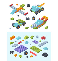 kids constructor toys isometric set variety vector image
