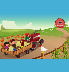 Kids on a hayride in a farm during fall season vector
