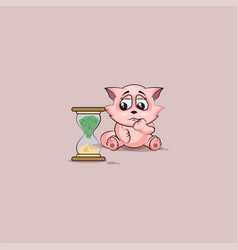Kitty sticker emoticon sits at hourglass vector