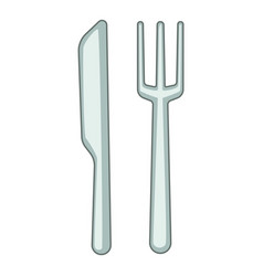 knife fork icon cartoon style vector image
