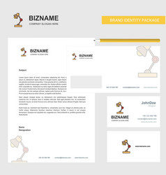lamp business letterhead envelope and visiting vector image