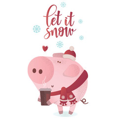 let it snow banner cute pig in a winter scarf vector image