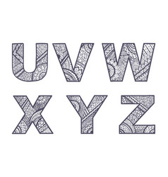 letters set u-z vector image