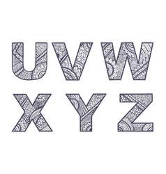 Letters set u-z vector