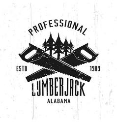 lumberjack monochrome emblem badge label vector image