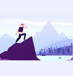 Man in mountain adventure climber standing vector