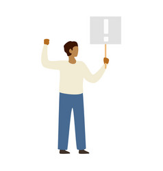 man protesting and holding hand a poster vector image