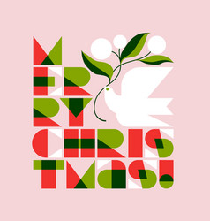 Merry christmas lettering and dove with flowers vector