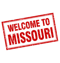 Missouri red square grunge welcome isolated stamp vector