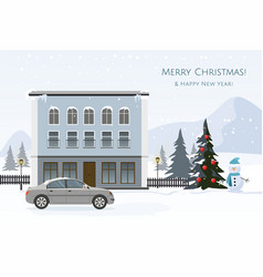 modern cottage and gray car vector image