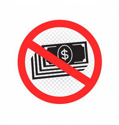 no cash sign symbol icon vector image