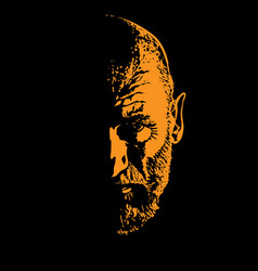 Old man portrait silhouette in backlight vector