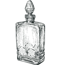 Old perfume bottle vector