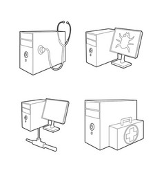 pc icon set outline style vector image