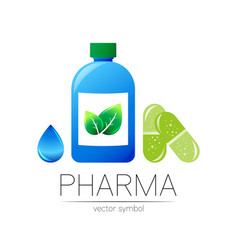 Pharmacy symbol with blue bottle green vector