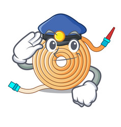 Police water hose character cartoon vector
