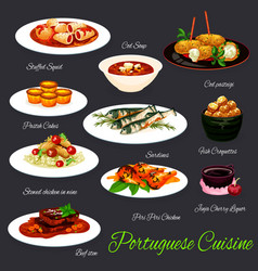 portuguese fish and meat dishes with custard tart vector image