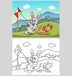 Rabbit playing kite with dog cartoon character vector