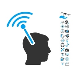 Radio neural interface icon with air drone tools vector