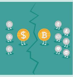 real money vs bitcoin virtual money crypto vector image