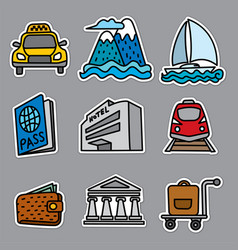 Resort travel stickers vector