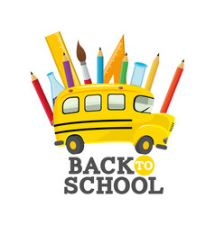 School bus with education utensils supplies vector