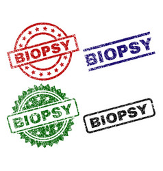 Scratched textured biopsy seal stamps vector