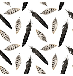 Seamless pattern with feather and arrows in vector image