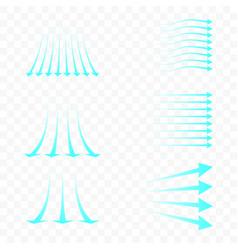 Set blue arrow showing air flow blue stream vector