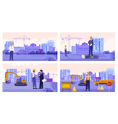 Set construction workers with vehicles vector