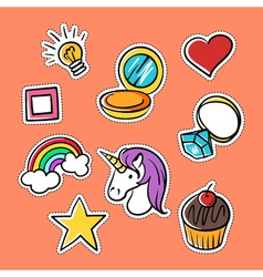 Set of fashionable patches star heart ring rainbow vector
