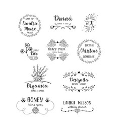 Set of handdrawn floral logos vector