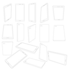 Set with contours of the cell phone phones with vector
