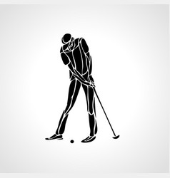 silhouette of golf player eps8 vector image