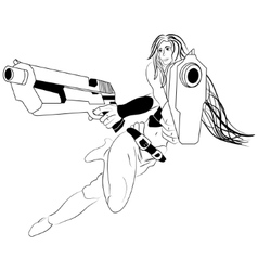 Sketch cartoon girl with a guns vector image