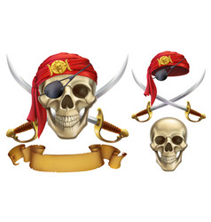 Skull and sabers pirate emblem 3d icon set vector