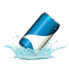 soda can in splash water vector image