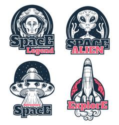 space scientific explore astronaut alien rocket vector image