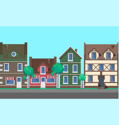 Street old town city with architecture vector