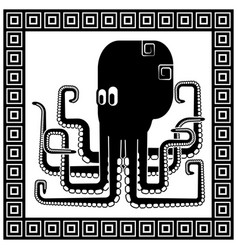 stylized silhouette an octopus vector image