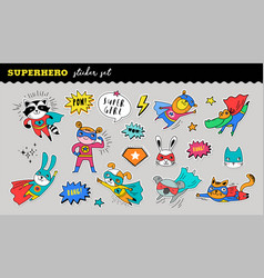 Superhero cute sticker collection hand vector