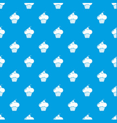 sweet cupcake pattern seamless blue vector image